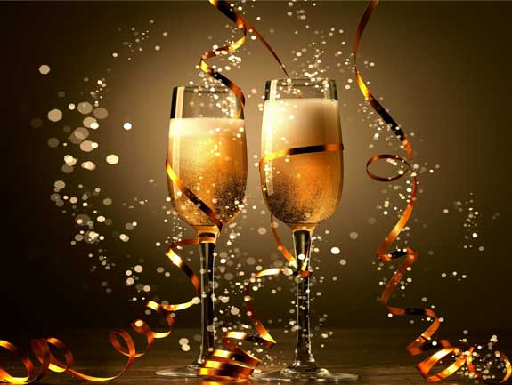 Happy New Year 2017 E-Cards, Champagne Glasses